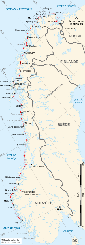 Hurtigruten route from Bergen to Kirkenes (Norway)