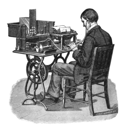 A 'G' (Graham Bell) model Graphophone being played back by a typist after its cylinder had recorded dictation. Transcription using cylinder phonograph.png