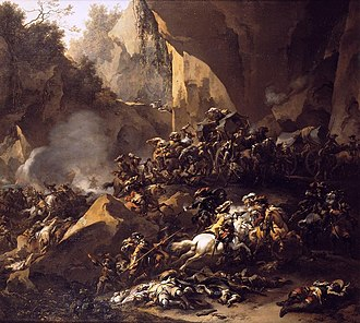 Brigandage - The painting, Travellers attacked by brigands by Nicolaes Pieterszoon Berchem (c. 1670).