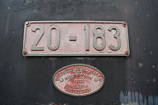 The builder's plate on the steam locomotive parked in Trebnje, Slovenia