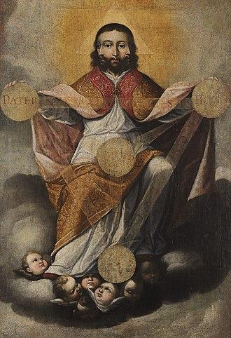 Colombian art - Holy Trinity by Gregorio Vázquez de Arce y Ceballos, oil on canvas, 17th century