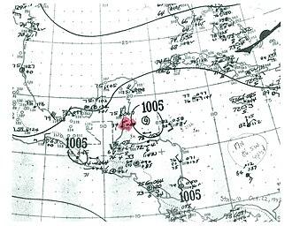 1943 Atlantic hurricane season - Image: Tropical Storm Ten surface analysis 1943