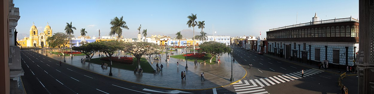 Panoramic view of the historic Plaza de Armas of Trujillo, the left is the Cathedral of the city
