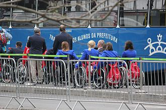 Turkey at the 2016 Summer Paralympics - Turkish competitors boarding for transport to the Parade at the Opening Ceremony.