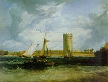 A painting of a lake with choppy waves, a sailing boat and a tall round tower