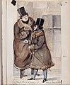 Två män, Charles Emil Piper och Albert Ehrensvärd, i vinterrockar och höga hattar står och samtalar - Nordiska museet - NMA.0037332.jpg