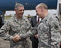 U.S. Air Force Lt. Gen. Sam Angelella, left, the commander of U.S. Forces, Japan and the 5th Air Force, greets Chairman of the Joint Chiefs of Staff Army Gen. Martin E. Dempsey upon Dempsey's arrival at Yokota 130425-F-PM645-278.jpg