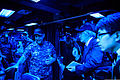 U.S. Navy Capt. Kurush Morris, right, the commanding officer of the guided-missile cruiser USS Shiloh (CG 67), talks with Japanese journalists during a ship visit in Yokosuka, Japan, Oct. 20, 2014 141020-N-NE138-067.jpg