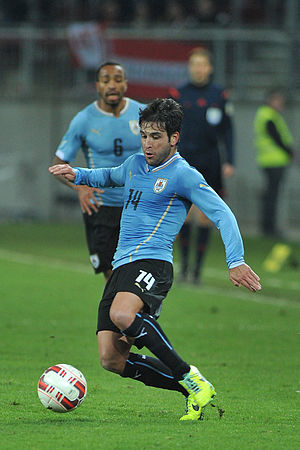 Nicolás Lodeiro - Lodeiro playing for Uruguay in 2014