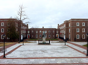 Upper Canada College - The Massey Quadrangle with Upper Canada College's boarding houses at rear, Wedd's at left and Seaton's at right, with the housemasters' residences in between