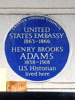 Photo of Henry Adams and United States Embassy in London blue plaque