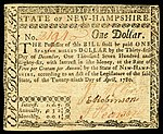 New Hampshire colonial currency, 1 dollar, 1780 (obverse)