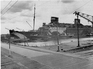 SS Europa (1928) - USS Europa in Bremerhaven, May 1945