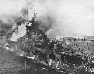 Attack on Kure (March 1945) - USS Franklin on fire after being struck by two bombs on 19 March 1945