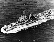 USS Pittsburgh (CA-72) underway after she lost her bow in June 1945 (80-G-325746)