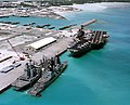 USS Saratoga (CV-60), USS Scott (DDG-995) and USS Monongahela (AO-178) at Diego Garcia on 16 December 1985.jpeg