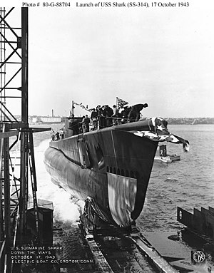 USS Shark being launched at Electric Boat Company