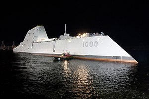 Stealth ship - USS ''Zumwalt'' after floating out of drydock, 28 October 2013