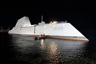 Stealth ship - USS Zumwalt after floating out of drydock, 28 October 2013
