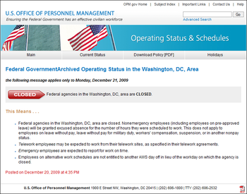 English: Screenshot of notice of US Federal Go...