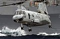 US Navy 030325-N-3443B-001 A CH-46 Sea Knight carries supplies and stores during a vertical replenishment (VERTREP).jpg