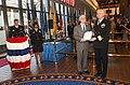 US Navy 031107-N-2568S-001 Secretary of the Navy, Gordon R. England, presents Rear Adm. Donald Arthur, National Naval Medical Center (NNMC) Commander, with a Meritorious Unit Commendation.jpg