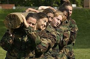 Team building - The US military uses lifting a log as a team-building exercise.