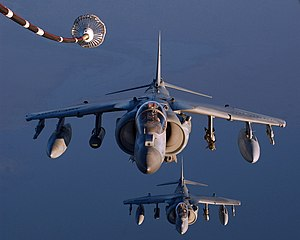 US Navy 041003-F-3188G-216 A pair of U.S. Marine Corps AV-8B II Harriers prepare to refuel during missions over Iraq.jpg