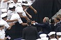 US Navy 050830-N-6633C-006 President George W. Bush pauses to greet and shake hands with San Diego-area Sailors.jpg