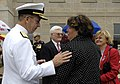 US Navy 070911-D-7203T-010 Chief of Naval Operations Adm. Mike Mullen speaks with family members during a Sept. 11 remembrance and wreath laying ceremony with at the Pentagon.jpg