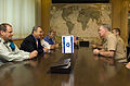 US Navy 080623-N-8273J-049 Chief of Naval Operations (CNO) Adm. Gary Roughead, right, meets with Israel Minister of Defense, Mr. Ehud Barak, center left, in Tel Aviv, Isreal.jpg