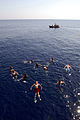 US Navy 081016-N-1635S-003 Sailors assigned to the Ticonderoga-class guided-missile cruiser USS Chancellorsville (CG 62) swim in the Arabian Sea during a scheduled swim call.jpg