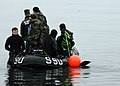 US Navy 090319-N-9573A-014 Seabees assigned to Underwater Construction Team (UCT) 2 and Mobile Diving and Salvage Unit participate in an underwater welding exercise with members of the Republic of Korea Navy.jpg