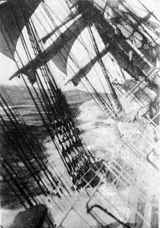Cape Horn - View from an unidentified sailing ship during a storm at Cape Horn, between 1885 and 1954