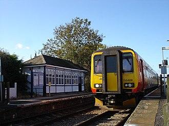 Aslockton railway station - A Skegness-bound train at Aslockton station
