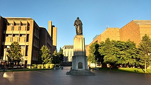 Campus of the University of Washington - George Washington greets students entering Red Square