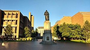 Campus of the University of Washington - George Washington greets students entering Red Square