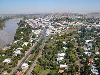 Upington - Aerial view of Upington's Central Business District