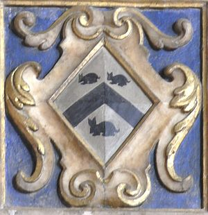 Plympton - Arms of Strode: Argent, a chevron between three conies courant sable, detail from mural monument to Ursula Strode (d.1635), 1st wife of Sir John III Chichester (d.1669) of Hall and daughter of Sir William II Strode (d.1637). Bishop's Tawton Church
