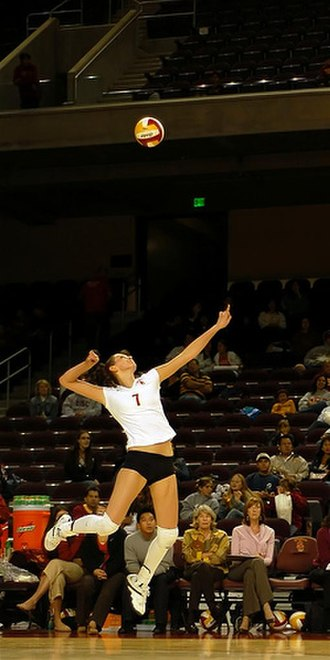 USC Trojans women's volleyball - Joanna Kaczor serving the ball in 2007.