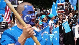 "East Turkestan - The term ""East Turkestan"" is primarily used by, and is associated with, Uyghur separatists (diasporic protest in Washington, D.C. shown)"