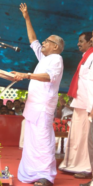 V. S. Achuthanandan - V.S. campaigning for LDF candidate V.B. Binu in Kanjirappally legislative constituency (2016 Assembly elections).