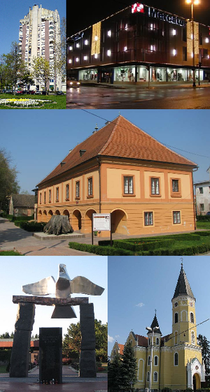 Velika Gorica - From top left: Vodotoranj (Water Tower Building), Mercator department store in city centre, Turopolje Museum, Monument to fallen soldiers in the Croatian War of Independence, Parish Church of the Annunciation of the Blessed Virgin Mary