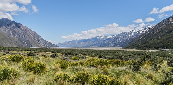Valley of Tasman River in Aoraki/Mount Cook National Park in the South Island, New Zealand