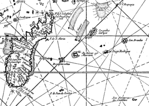 Diogo Fernandes Pereira - Detail of Mascarenes islands from a Dutch map of 1689, with some of the earlier names of the islands.