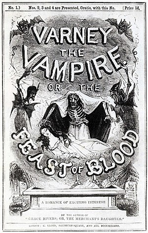 Penny dreadful - Cover of a Varney the Vampire publication (1845)