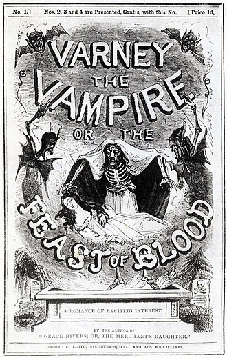 Gothic fiction - Cover of a Varney the Vampire publication (1845)