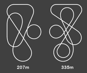 Vekoma Junior Coaster - The track layouts for the two most common models.