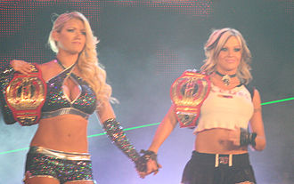 TNA Knockouts Tag Team Championship - (Left to right) Lacey Von Erich and Velvet Sky of The Beautiful People, who held the title along with Madison Rayne