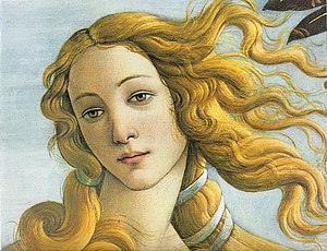 The Birth of Venus - Detail: the face of Venus